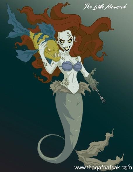 عروسة البحر www.thaqafnafsak.com  الوجه الشرير لشخصيات ديزني الشهيرة !