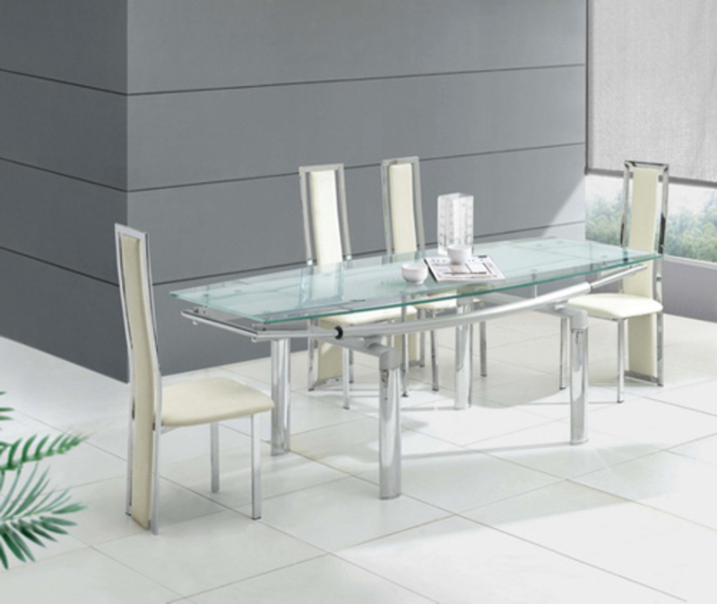 Best Picture of Modern and Luxury Extending Transparent Glass Dining Tables