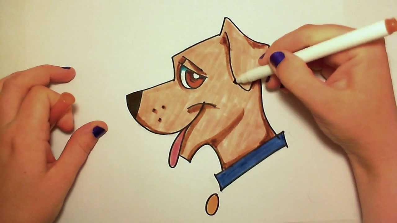 كيفية رسم كلب كرتوني بأوضاع وأشكال مختلفة بالصور