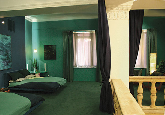 أروع ديكورات وموديلات غرف نوم باللون الأخضر 2015