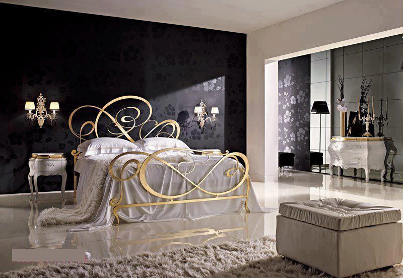 موديلات غرف نوم ذهبية اللون