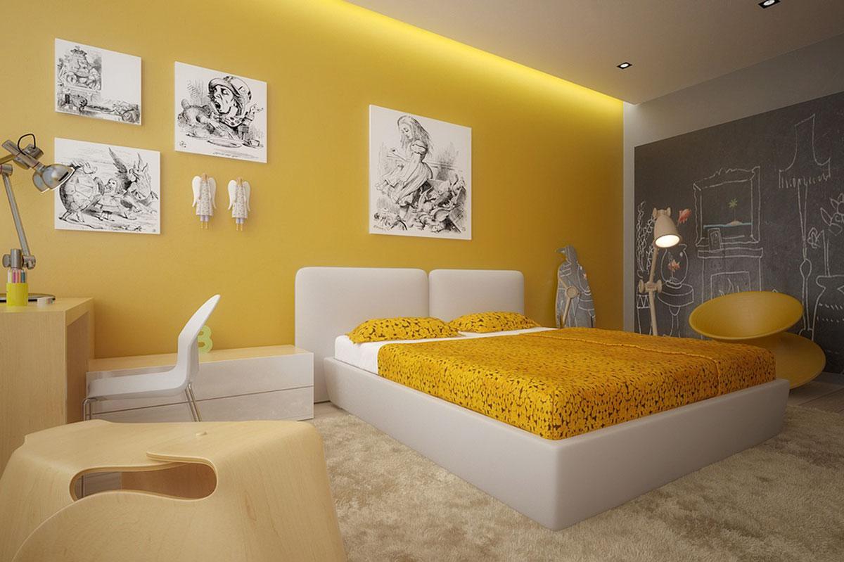 تصميمات غرف نوم 2015 باللون الأصفر الموردن الشائع للعام الجديد