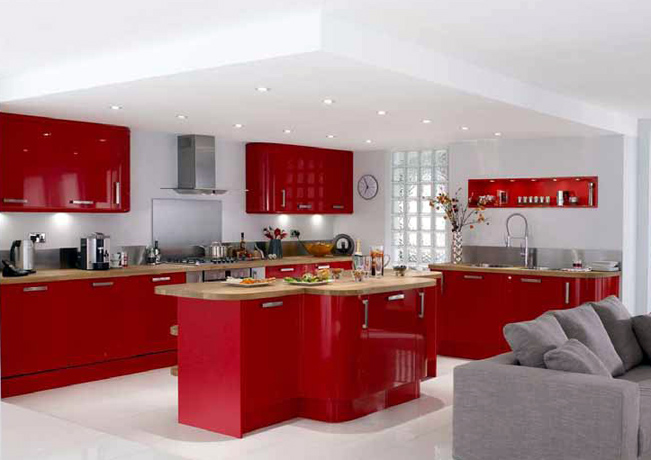 for Bright red kitchen cabinets