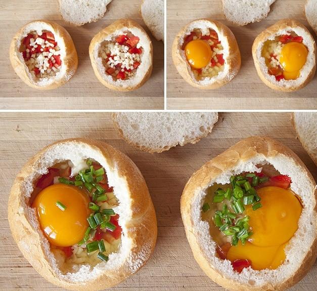 أوعية الخبز المحشية بالبيض وصفة سريعة التحضير12