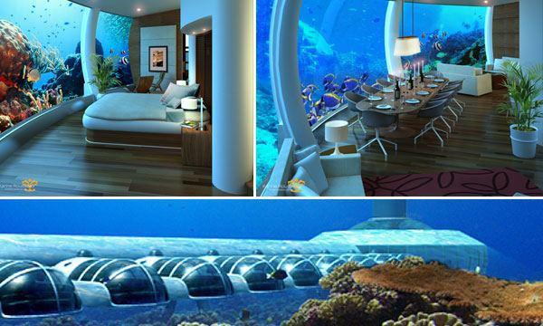 غرف فنادق مذهلة تحت الماء