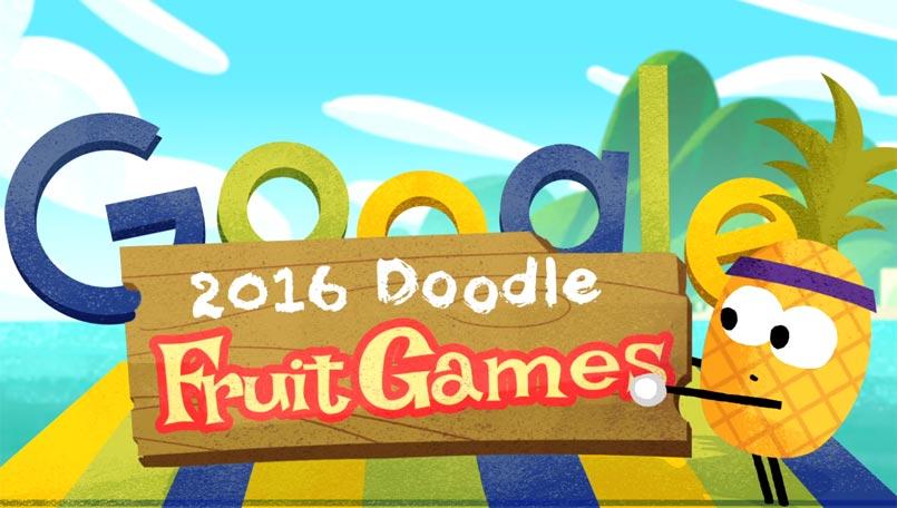 احتفال جوجل بالالعاب الأوليمبية fruit games