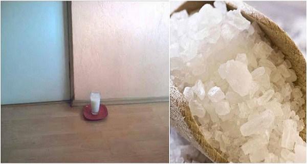نتيجة ترك كوب زجاجي من الملح والخل في منزلك
